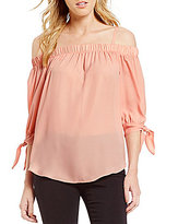 I.N. San Francisco Tie Sleeves Off-The-Shoulder Trapeze Top