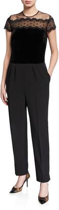 Shoshanna Everly Lace Top Short-Sleeve Jumpsuit