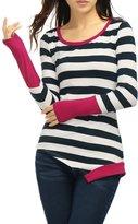 Allegra K Women Stripes Color Block Asymmetrical Hem Tee Shirt XS