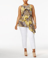 Alfani Plus Size Printed Asymmetrical-Hem Top, Only at Macy's