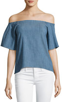 Alice + Olivia Christy Off-the-Shoulder Chambray Shirt, Blue