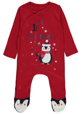 George Red My First Christmas Penguin Sleepsuit