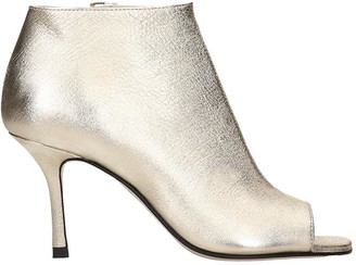 Marc Ellis High Heels Ankle Boots In Platinum Leather