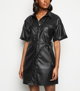 New Look Cameo Rose Leather-Look Utility Shirt Dress
