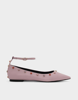 Charles & Keith Ankle Strap Embellished Leather Flats