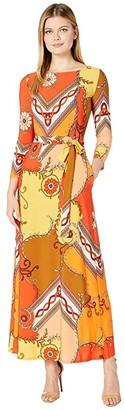 Donna Morgan 3/4 Sleeve Stretch Knit Jersey Maxi Self Belt Dress (Sunset Multi) Women's Dress