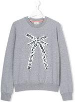 Fendi lettering bow print sweatshirt - kids - Cotton/Spandex/Elastane - 14 yrs