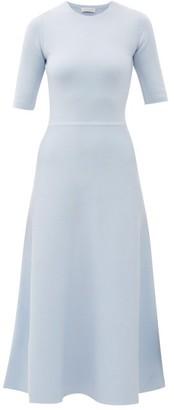 Gabriela Hearst Seymore Wool And Cashmere-blend Midi Dress - Womens - Light Blue