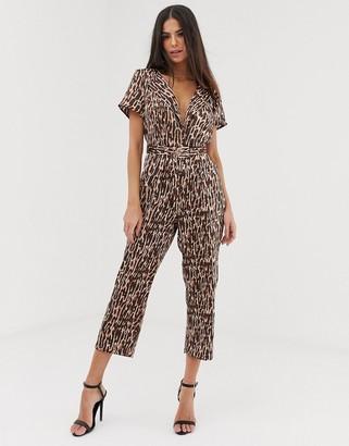 UNIQUE21 animal print tailored jumpsuit-Brown