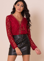 Missy Empire Sascha Wine Lace Lace Up Top
