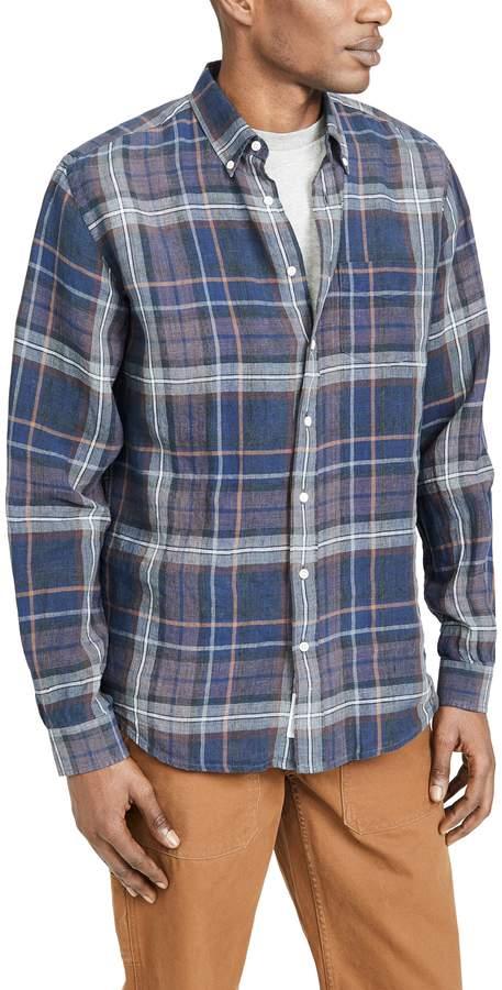 Schnaydermans Schnayderman's Linen Indigo Check Shirt