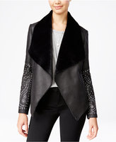XOXO Juniors' Faux-Fur-Trim Studded Moto Jacket