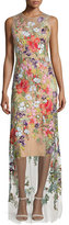 Jenny Packham Sleeveless Floral-Applique Gown, Illusion