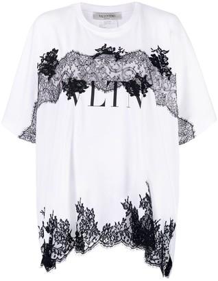 Valentino Lace-Detail Logo Print T-Shirt
