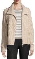 Iris von Arnim Cashmere Zip-Front Cardigan, Beige