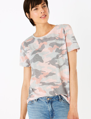 Marks and Spencer Printed Crew Neck Relaxed T-Shirt