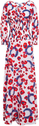 Isolda Shirred Floral-print Cotton-gauze Maxi Dress