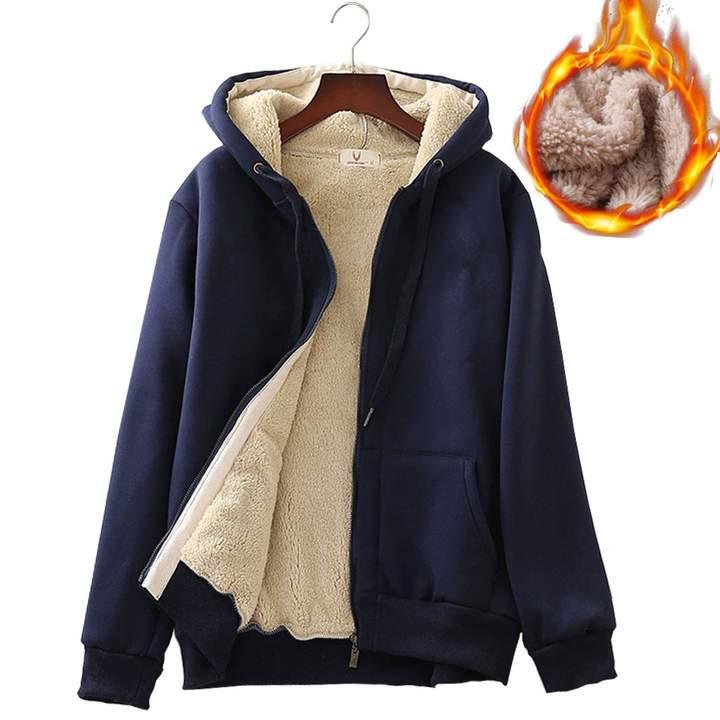 54b57cff0ea37 Flygo Women's Winter Thick Fleece Lined Full Zip Hoodie Sweatshirt Jacket  Outerwear