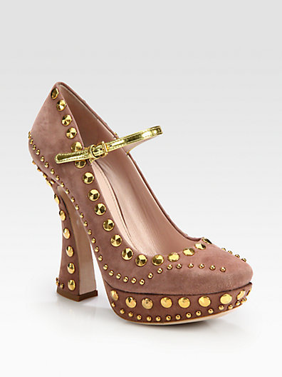 Miu Miu Studded Suede Mary Jane Platform Pumps