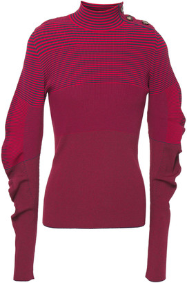Cédric Charlier Ruched Striped Stretch-knit Sweater