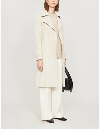 Theory Oaklane belted suede trench coat