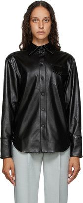 MATÉRIEL Black Faux-Leather Button Shirt