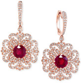Effy Ruby (3-1/3 ct. t.w.) and Diamond (9/10 ct. t.w.) Filigree Pattern Drop Earrings in 14k Rose Gold