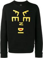 Fendi letters face sweatshirt - men - Plastic/Polyester/Wool - 46