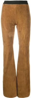P.A.R.O.S.H. Contrast Waistband Goatskin Trousers