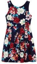 Aqua Girls' Floral Fit-and-Flare Dress - Big Kid