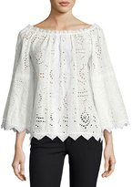 Burberry Off-the-Shoulder Eyelet Top, White