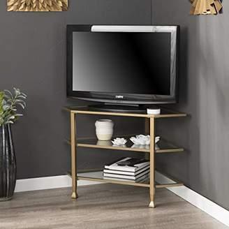 Southern Enterprises Jaymes Metal/Glass Corner TV Stand media console