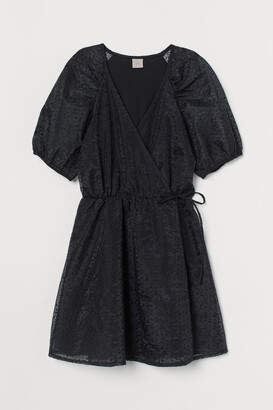 H&M Puff-sleeved Wrap Dress - Black