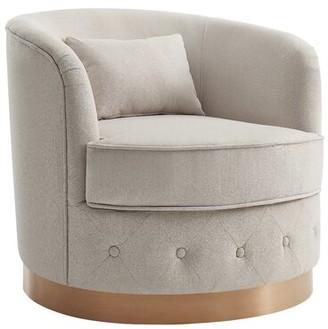 """Rosdorf Park Margo Swivel 29"""" Barrel Chair Fabric: Beige Velvet"""