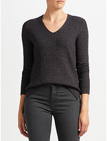 John Lewis Cable V-Neck Tunic Jumper, Charcoal
