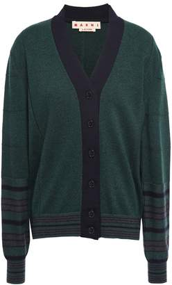 Marni Striped Cashmere And Wool-blend Cardigan