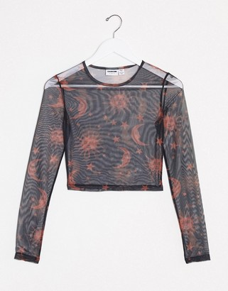 Noisy May mesh long sleeve top in black