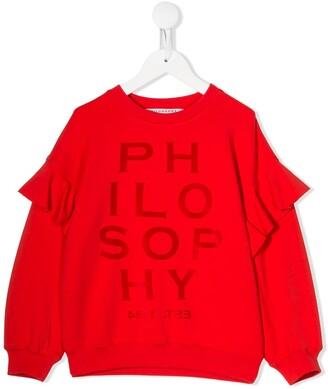Philosophy Di Lorenzo Serafini Kids Ruffle-Sleeve Logo Sweatshirt