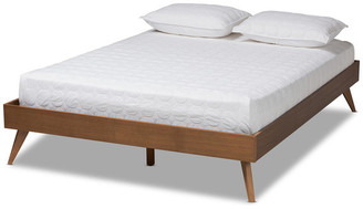 Baxton Studio Maitland Mid-Century Modern Walnut Brown Wood King Platform Bed Frame