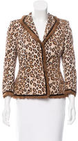Alexander McQueen Fur-Trimmed Silk Blazer