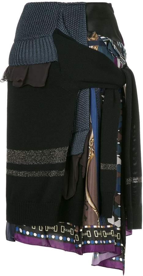 Kolor patchwork knit skirt