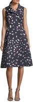 Carolina Herrera Floral-Print Sleeveless A-line Shirtdress