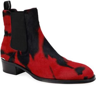 Alexander McQueen Men's Tie-Dye Calf Hair Chelsea Boots