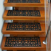 Rubber-Cal 6-Piece Regal Stair Treads Rubber Step Mats, 9.75 by 29.75-Inch, Black