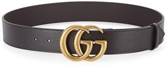Gucci GG dark brown grained leather belt