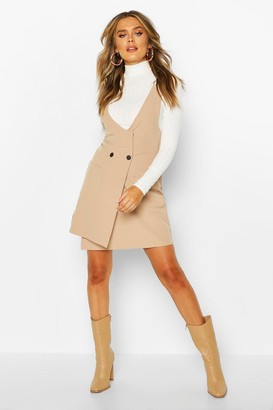 boohoo Pocket Front Pinafore Dress