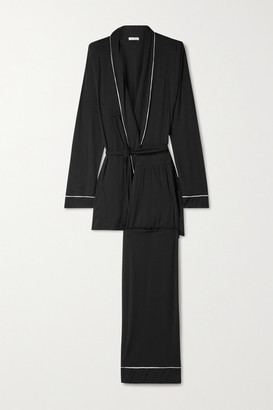Eberjey Gisele Belted Piped Stretch-modal Pajama Set - Black