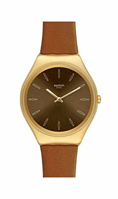Swatch Womens Analogue Swiss Quartz Watch with Real Leather Strap SYXG104