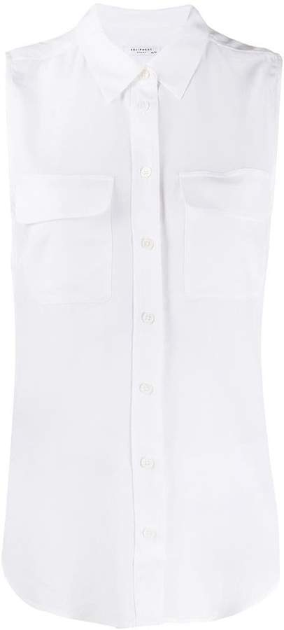 Equipment sleeveless button shirt