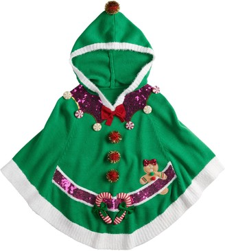 It's Our Time Girls 7-16 Girls Christmas Elf Poncho